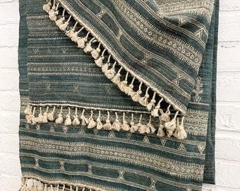 Vintage Silk Textile, Natural Fiber fabric, Raw silk throw blanket with tassel fringe, Silk Noil wall hanging, Morrissey Fabric