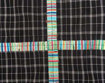 Guatemalan Fabric, BLACK PLAID vintage Throw, Hand Embroidery details, Morrissey Fabric