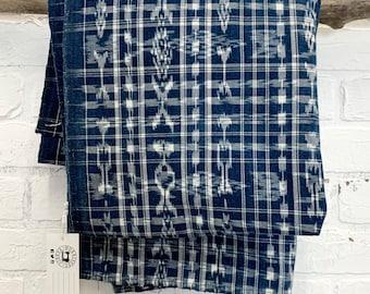 Vintage Guatemalan Cotton Fabric, Indigo blue and white ikat material, Indigo Corte Cloth, Morrissey Fabric