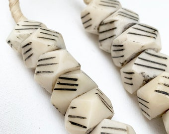 African Geometric Beads, Faux Ivory beads with black stripes, Table Top decor