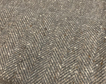 Wool Herringbone FABRIC by the yard, coat or upholstery cloth, Gray/Natural woolen fabric, Yarn Dyed Textile, Morrissey Fabric