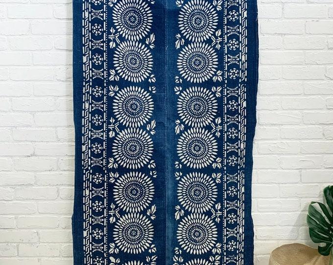 Chinese Batik Fabric, Vintage Chinese Paste Resist, Global Decor Style, Vintage textile, Chinoiserie Decor