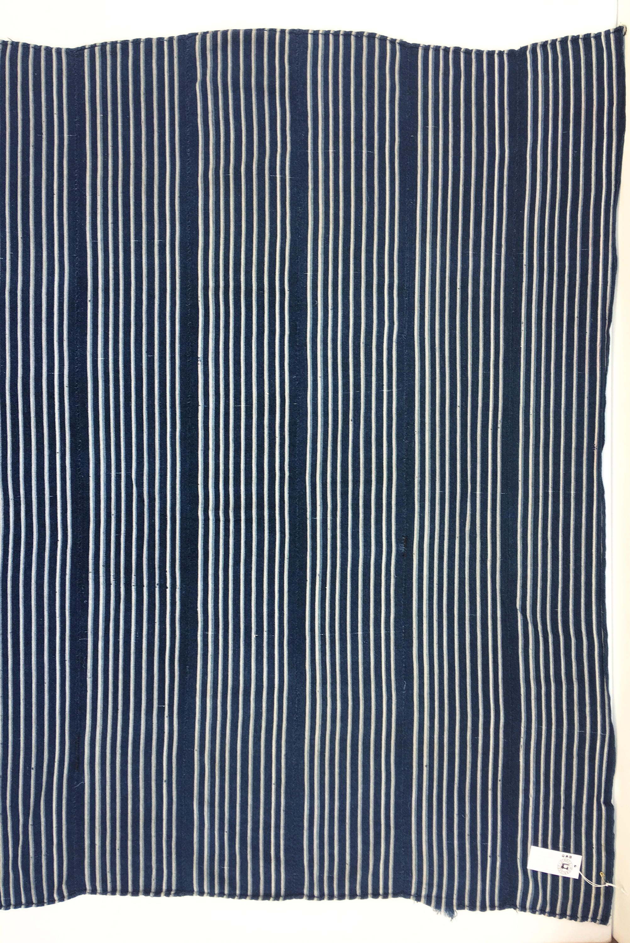 Clean vintage textile Mud Cloth in a blue and white Indigo Stripe African