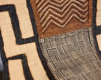 Vintage Kuba Cloth, Tribal Textile, hand sewn appliqués, African wall art, Morrissey Fabric