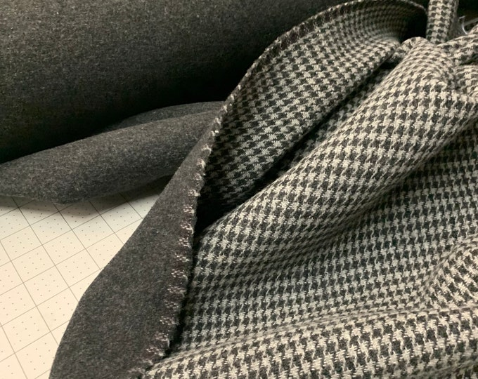 Woolen fabric that's reversible, Houndstooth wool by the yard, coat or upholstery cloth, Black and grey Textile, Morrissey Fabric