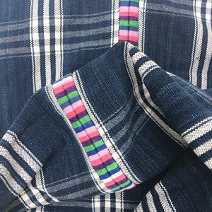 Vintage Corte Textile with Rainbow color water jug embroidery Navy Blue Guatemalan Fabric