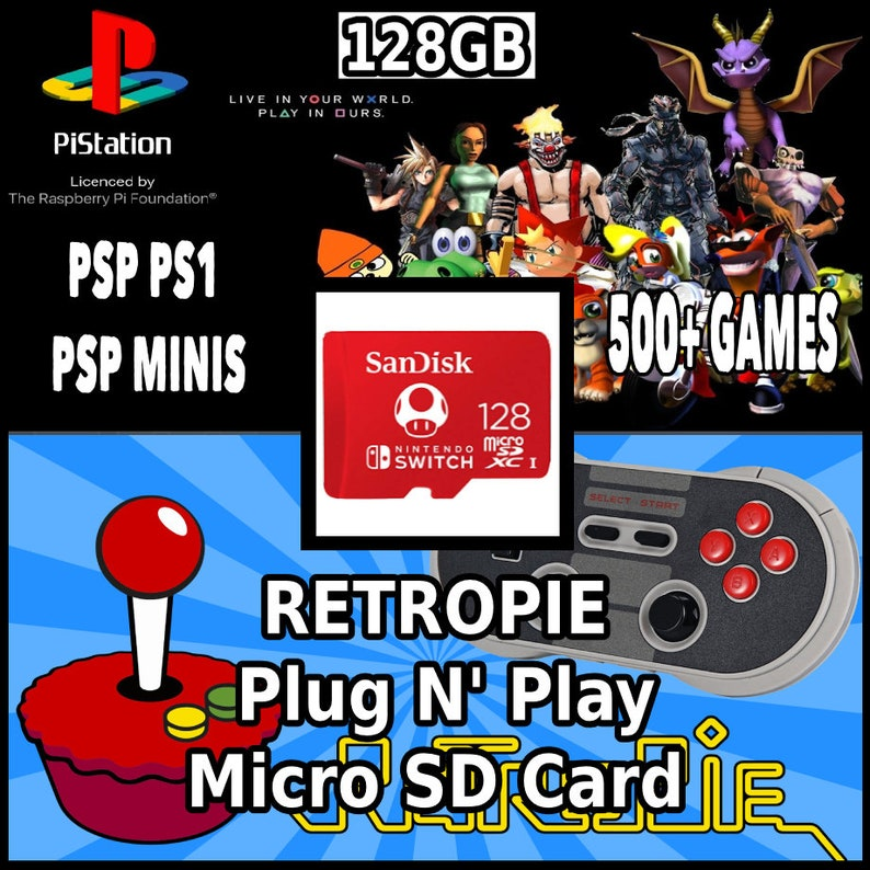PiStation | 128GB Retropie Micro SD Card | 500+ Games! | Raspberry Pi 3B 3B+