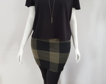 Winter lined skirt - Khaki and Black - Checkered print - Collection Gaïa