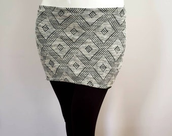 Winter lined skirt - grey and green wool look– Plaid print -Collection Gaïa