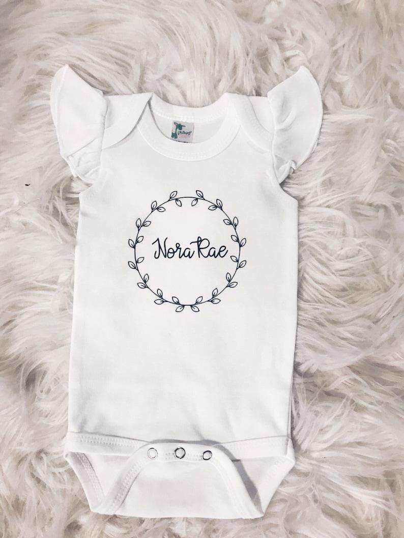 f2561e4cb Flutter Sleeve Birth Announcement Onesie Flutter Sleeve | Etsy