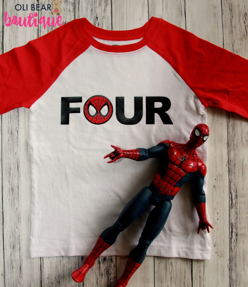 Custom Spiderman Birthday Shirt Superhero 4th