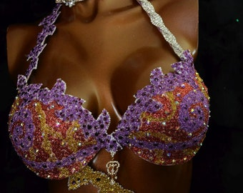 Npc competition Bikini competition suit/WFBB/Posing bikini/IFBB/Fitness competition/Diva bikini By LauraG-crystals