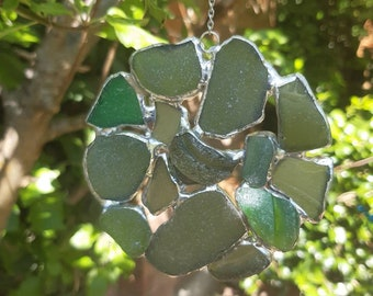 Sea Glass Suncatcher Small Stained Glass suncatcher Green