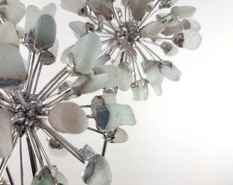 3 Sea Foam Sea Glass Allium Flowers, Metal Flower, Stained Glass
