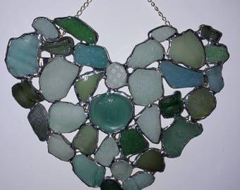 Sea  Glass Beach Find Wall Hanging, Sun Catcher,Sea Glass, Sea pebbles, Sea Pottery, Love Heart