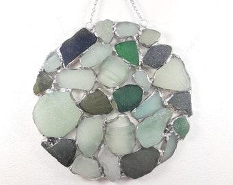 Sea Foam and Green Sea Glass Suncatcher Stained Glass suncatcher
