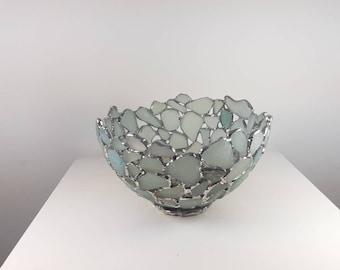 Sea Glass Bowl, Seafoam Blue Beach Glass Bowl, Sea Glass Art , Stained Glass