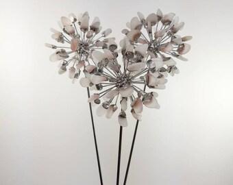 3 White Sea Glass Allium Flowers