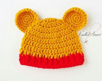 0c4233331 Crochet Pooh Bear Hat, Bear Hat, Photo Prop, Baby hat, Newborn Hat, Pooh Hat,  Winnie the Pooh Hat, Baby Bear Hat, Baby Shower Gift