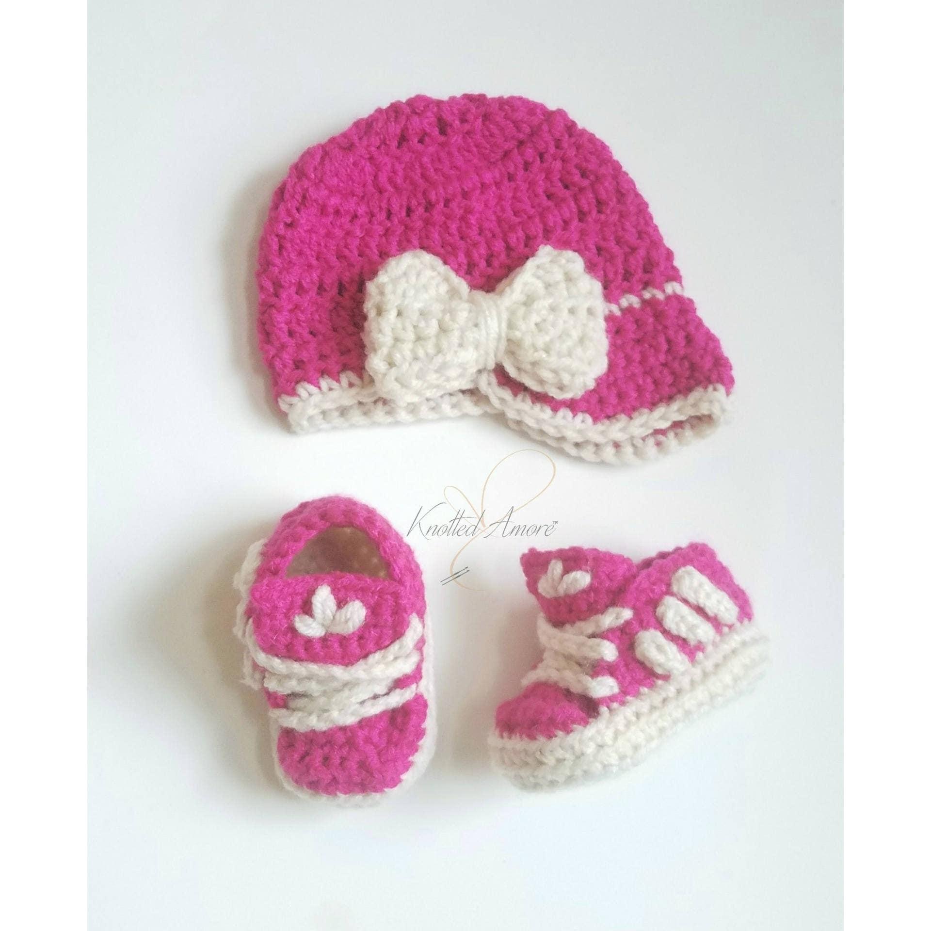 Crochet Baby Girl Set, Photo prop, Baby Adidas, Baby shoes, Crochet Bootie, Girl Crib Shoes, Newsboy Girl Hat, Baby Girl Hat, Pink Baby Hat