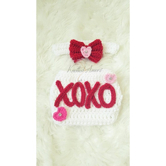 heart newborn set photo prop baby girl outfit crochet newborn outfit baby girl set xoxo baby set Valentine/'s day newborn outfit
