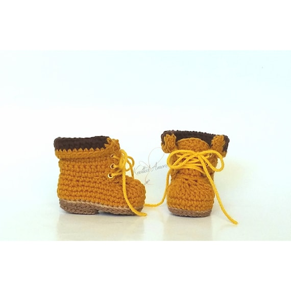 c1ddc8a95b047 Crochet baby work boots, unisex baby boots, baby booties, baby shower, baby  announcement, crib shoes, knit booties, crochet baby shoes