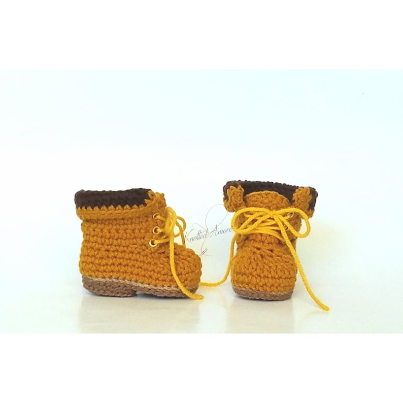 a2b927efa5c5b Crochet baby timberland boots, unisex baby boots, baby booties, baby  shower, baby announcement, crib shoes, knit booties, crochet baby shoes