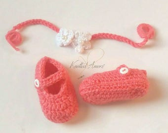 Crochet baby headband, tieback headband, booties, baby shoes, baby headband, baby girl set, crochet headband, crochet shoes, announcement