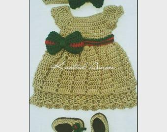 Crochet gucci inspired dress, crochet baby dress, crib booties, baby booties, baby gift, newborn photo prop, baby headband, baby shoes