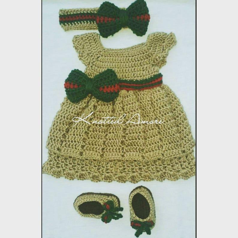 97020d60e03d2 Crochet gucci inspired dress crochet baby dress crib
