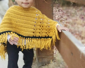 Crochet baby pocho with fringe, crochet baby sweater, custom crochet sweater, baby cover up