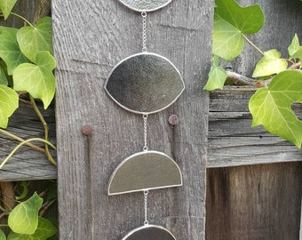 Silver/Gray Vertical Lunar Phase with Quartz Crystal