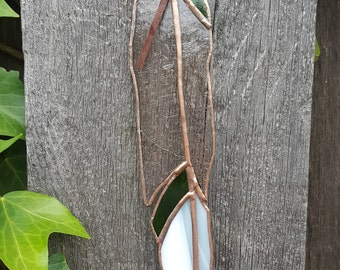Wing Feather-Translucent Pink/White/Green/Copper Finish