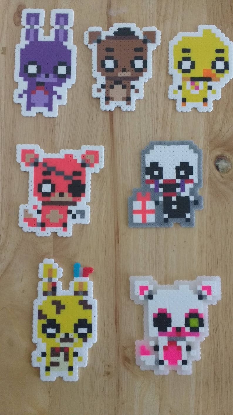 Five Nights at Freddy's - Freddy, Bonnie, Foxy, Chica, Mangle, Puppet,  Withered Bonnie, and Springtrap 4 0x3 0 Perler Bead Art Pixel FNAF