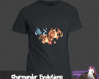 Pokemon - Charmander Evolutions  (Unisex/Ringspun/Ladies) Tshirt