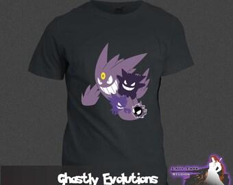 Pokemon - Ghastly Evolutions  (Unisex/Ringspun/Ladies) Tshirt