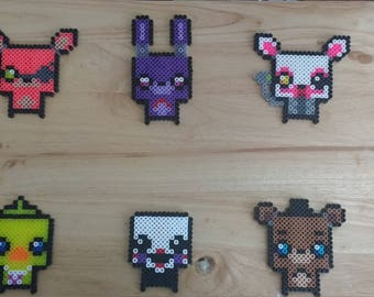 Five Nights at Freddy's - Foxy, Freddy, Chica, Mangle, Puppet, and Bonnie 4.0x4.0 Perler Bead Art Pixel Art FNAF