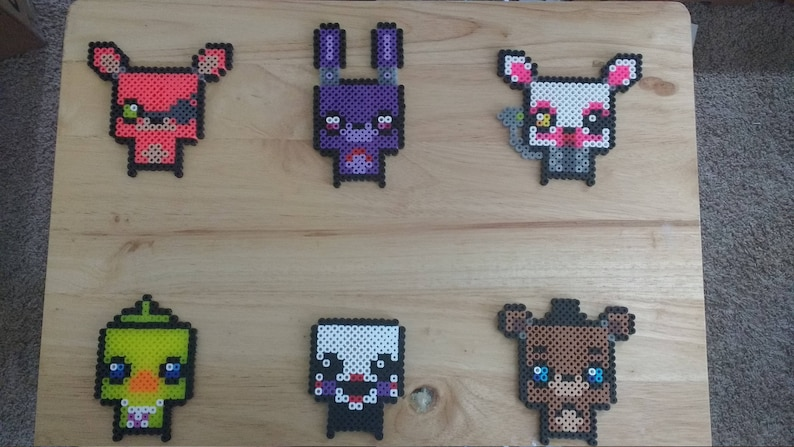 Five Nights at Freddy's - Foxy, Freddy, Chica, Mangle, Puppet, and Bonnie  4 0x4 0 Perler Bead Art Pixel Art FNAF