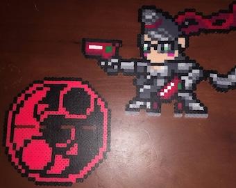 Bayonetta- Bayonetta and Umbral Witch Stand 6.0x7.5 Perler Bead Art Pixel Art