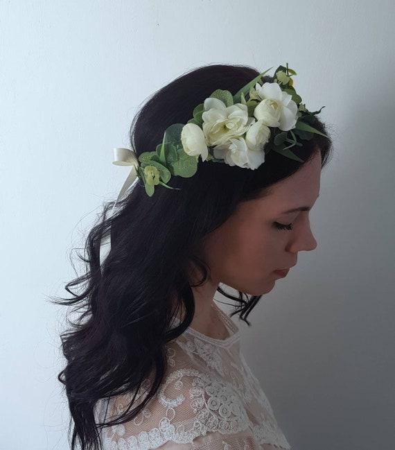 Handmade Bridal Flower Crown in Pink Floral Halo Headpiece Wedding Festivals Photo Props