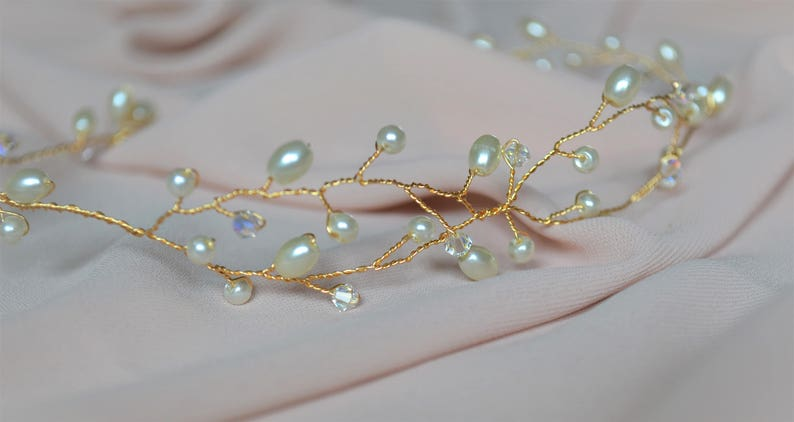 pearl and crystal hairpiece available in varying lengths Bridal hair vine in either gold or silver