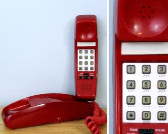 8057c7dd2 Red Push Button Phone Vintage Phone Corded Landline Telephone 80s 90s  Electronics Retro Desk Phone BellSouth 9827WA 1990s Party Decor
