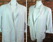 Rainbow Striped Blazer 80s Pastel Stripe Suit Jacket Women Medium Large Oversized Blazers 3 4 Sleeve White Cardigan Loose Fit Sports Coat