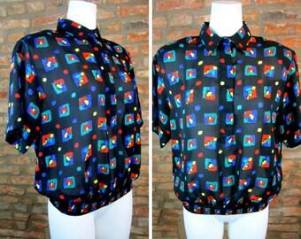46c1c2bae Vintage Sheer Top Black Dress Shirt 80s Blouse Medium Abstract Blouse  Geometric Novelty Print Short Sleeve Collared Shirt Elastic Waist