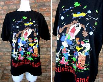 bd527195cb323 Looney Tunes Shirt Men XL Vintage Taz Cartoon Tee Gentleman s Game Novelty  Golf T-Shirt Bugs Bunny T Shirts 90s Hip Hop Clothing Warner Bros