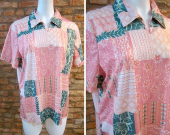 ffddc1fdb Floral Print Shirt Womens Large Pink Polo Pastel Color Block Dress Shirts  70s Short Sleeve Blouse Flowy Loose Fit Tops Multicolor Geometric