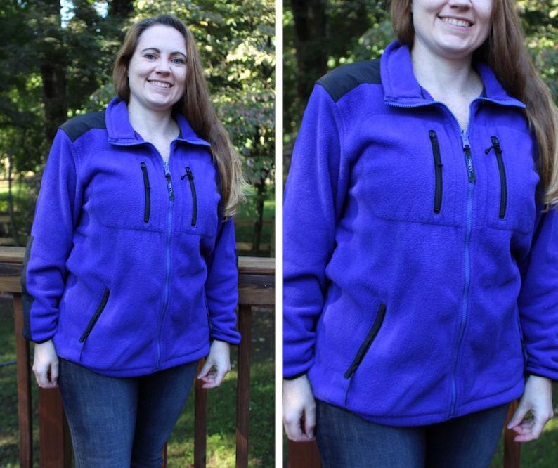 f7eb3ab50e805 Full Zip Fleece Jacket Women's Large 90s Fleece Sweatshirt | Etsy