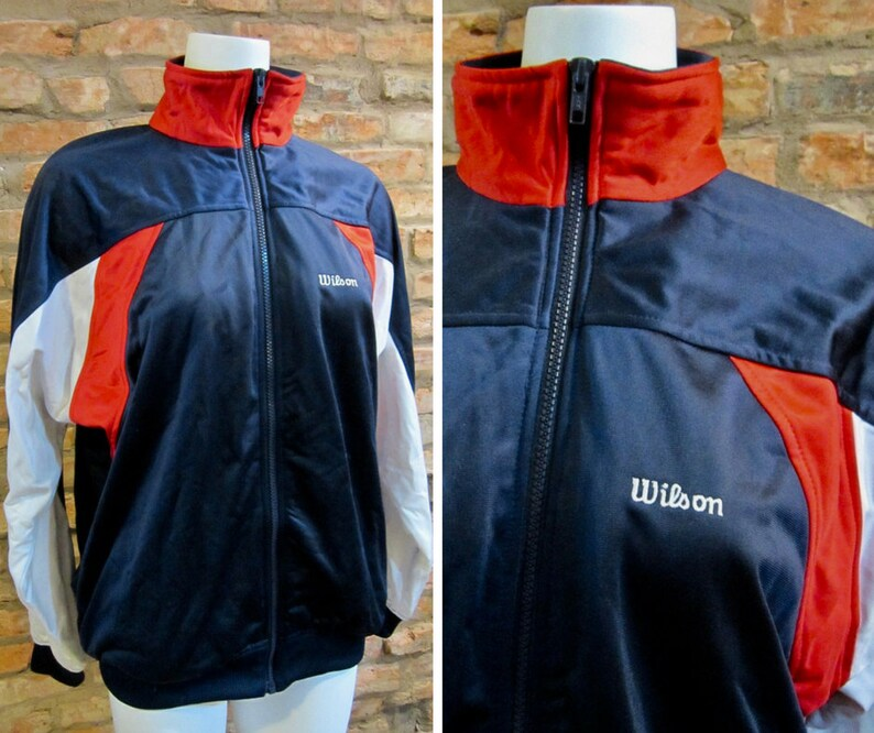 9e03357a1 Color Block Jacket 80s Tracksuit Large Vintage Windbreaker Multicolor Red  White Blue Wilson Tennis Jackets Zip Up Athletic Trainer Hip Hop