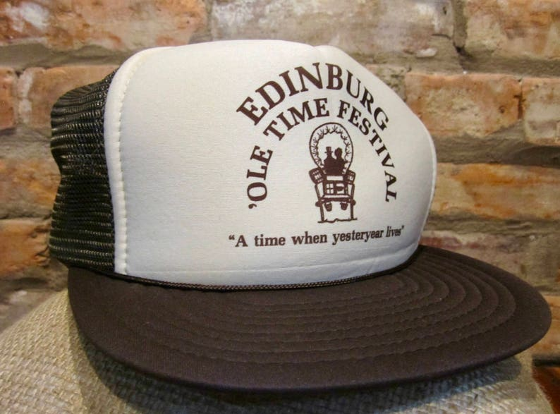 Vintage Trucker Hat 80s Vintage Snapback Hat Edinburg  Ole Time Festival  Bro... Vintage Trucker Hat 80s Vintage Snapback Hat Edinburg  Ole Time  Festival ... 55985be5f7c0