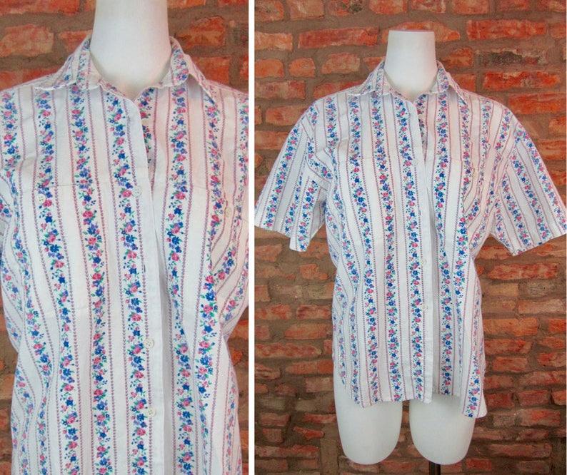 4eb9dd7ac23f Retro Dress Shirt Floral Striped Blouse Medium Short Sleeve | Etsy